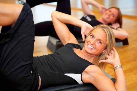 Women exercising in a fitness center